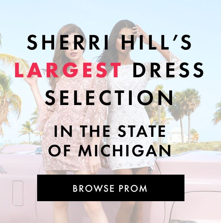 Two models in Sherri Hill homecoming dresses